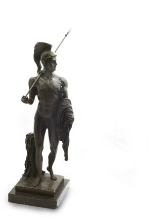 manhood: Odysseus; Ulysses bronze statue (Hero from the Greek mythology). France. 19th century. Path on the white background.