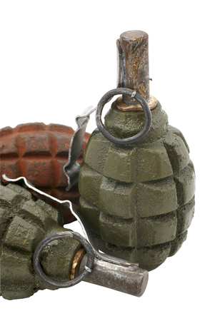 fragmentation: Soviet hand grenades slang - pineapples isolated over a white background.  Fragmentation hand grenade, very effective used during the Second World War both side Soviet and German soldiers