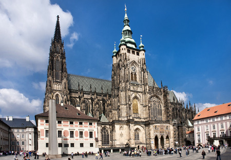prague castle: The Cathedral of Saints Vitus, Wenceslaus and Adalbert is an excellent example of Gothic architecture and is the biggest and most important church in the country. Located within Prague Castle and containing the tombs of many Bohemian kings and Holy Roman  Editorial