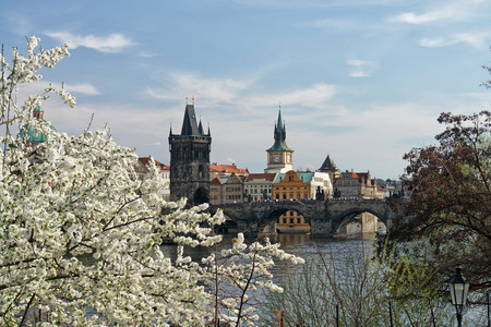 The famous Charles Bridge The Old Town Bridge Tower started in 1357 under the auspices of King Charles IV, and finished in the beginning of the 15th century. Spring foro from Vltava side