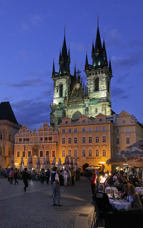old town square: Old Town Square  and Church of Mother of God before Tn at night. Old Town Square is a historic square in the Old Town quarter of Prague, the capital of the Czech Republic. It is located between Wenceslas Square and the Charles Bridge.