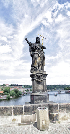 st charles: Statue of St John the Baptist on the Charles Bridge in Prague. The prophet and the predecessor of Jesus. 30 years living in the desert, traveled and baptized people. In the Jordan river he was baptized, and Jesus. Scultor Joseph Max. 1857 .