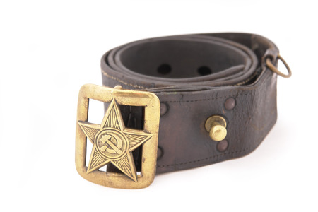 Soviet standard senior officer belt. Copper buckle with big star and symbol of communism: sickle and hammer. WWII period Editorial