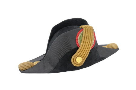 begging: Italian cocked hat of Italian navy doctor (officer). Black and gold. The begging of 19 century. (Path for isolation)
