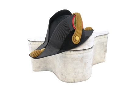 cocked hat: Italian cocked hat of Italian navy doctor officer. Black and gold. The begging of 19 century. Hat with white original box. Path for isolation
