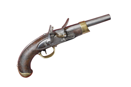 19th: French antique flint pistol gun of 19th century. France. 1810