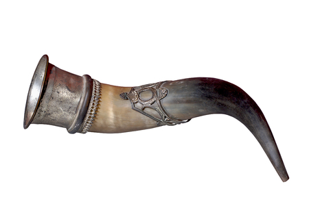 horns: Hunting horn from buffalo horn and sliver cover of 19th century. West Europa.