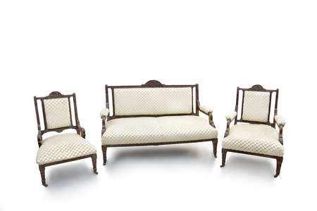 Old Fashioned Wood Chair And Sofa On White Background. Stock Photo    63697314