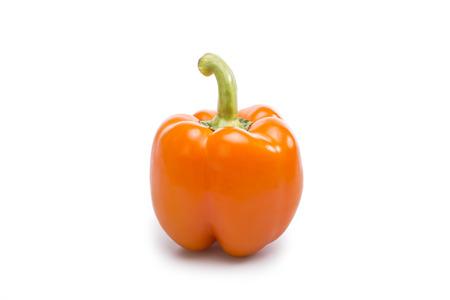 natue: Big orange paprika isolated on white background.