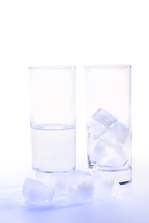 thirstiness: Studio picture of glass of water with ice cubes (with clipping path)