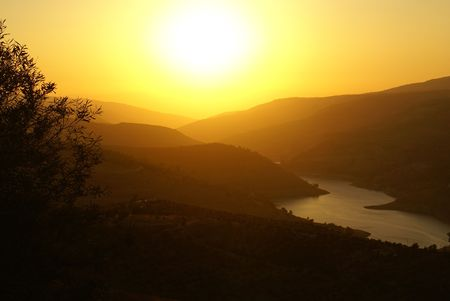 rivers mountains: Sunset over a Jordanian landscape with silhouette of olive tree