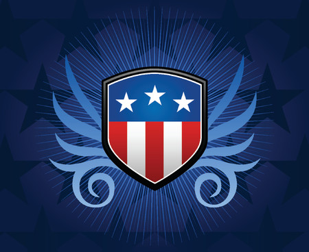 governmental: Escudo emblema con bandera americana car�tula