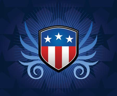 shield emblem: Scudo con stemma bandiera americana intarsio  Vettoriali