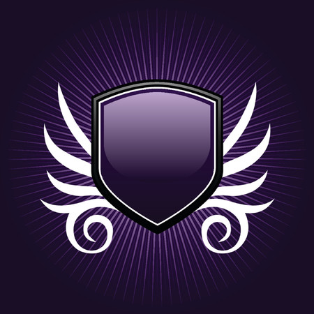gloss banner: Glossy purple shield emblem