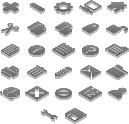 Titanium 3D icons Basic (1 of 2) Illustration