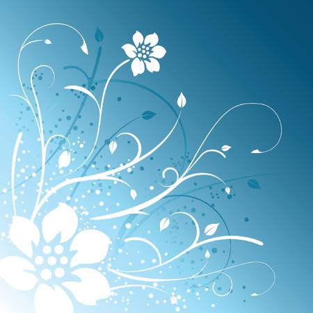 Floral design on blue background Stock Vector - 1243025