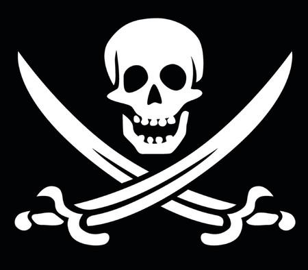 Jolly Roger skull and crossed swords symbol Çizim