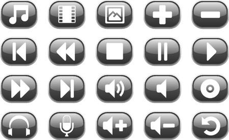 playback: Set of 20 glossy black multimedia audio and video icons Illustration