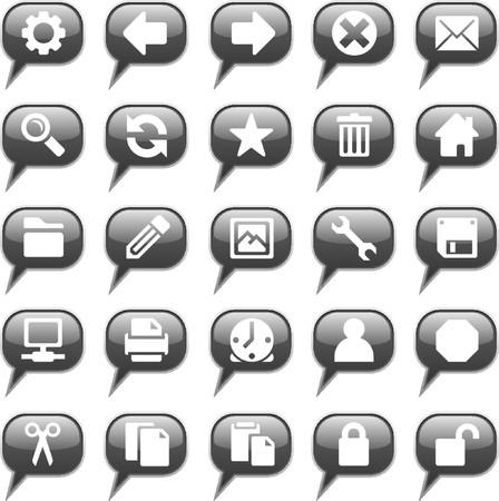 configure: Glossy black chat bubble icon set, 25 images