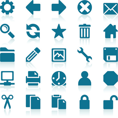configure: Simple blue web icons with subtle reflections, on white background Illustration