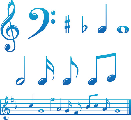 Set of glossy music notes and markings with score