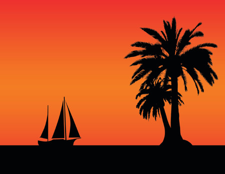 Simple sunset image with palm trees and sail boat Vector