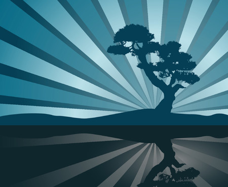 Tree silhouette reflecting on water over hills Vector