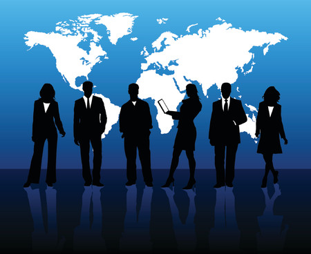 work worker workforce world: Business people silhouettes with world map background Illustration