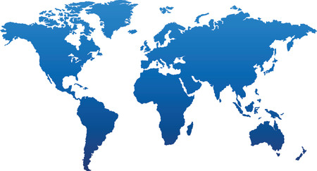 Basic world map in blue Vector