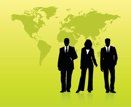 work worker workforce world: Silhouettes of business people standing in front of world map