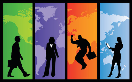 work worker workforce world: Business people on individually colored world map panels