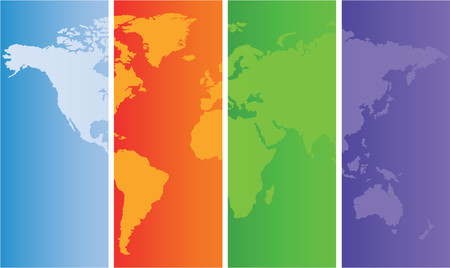 segmented: Segmented world map on multi colored panels