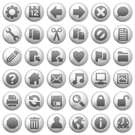 edit icon: 36 gloss aluminum finish icons on white background
