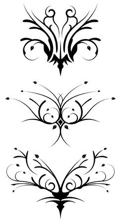 elite: Floral tribal design elements Illustration