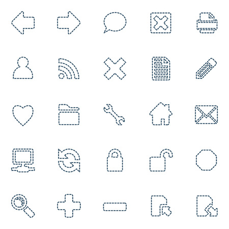 Stitched icons, set of 25 in blue Vector