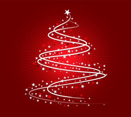 クリスマス ツリーの図は、赤い背景に白で  イラスト・ベクター素材