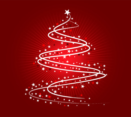 christmas tide: Christmas tree illustration, white on red background