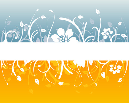 Blue and orange floral design with blank white space Stock Vector - 2005953
