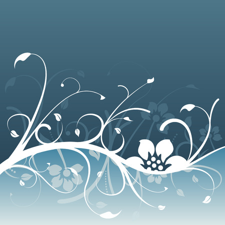 Dark blue floral design with light blue accent Vector