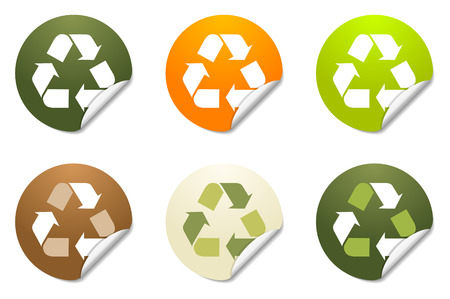 Set of 6 recycling sticker icons with peeled edge Ilustrace