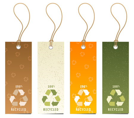 environmentalism: Set of 4 tags with recycling icons