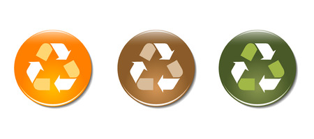 Set of 3 recycle symbol badge icons Vector