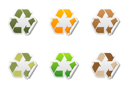 Set of 6 recycle symbol stickers with peeled edge Vector