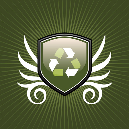 shield emblem: Riciclare simbolo scudo emblema su sfondo verde