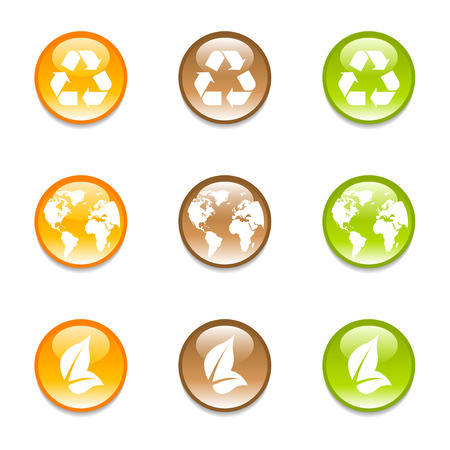 Set of recycling earth icons in 3 colors Vector