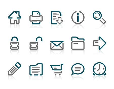 iconography: Set of 15 Outline web and internet icons