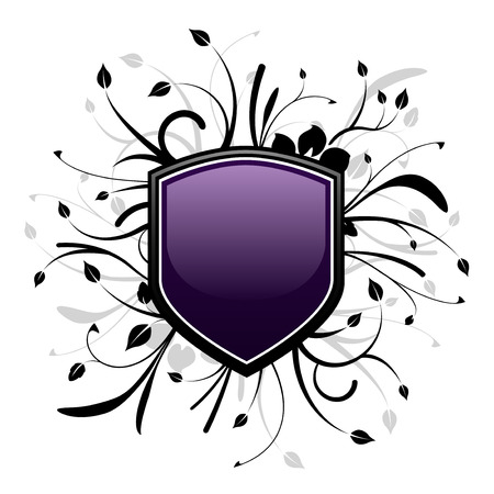 gloss banner: Purple and black shield emblem with floral design