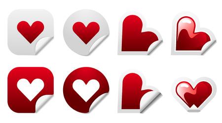 Valentine heart sticker icon set Vector