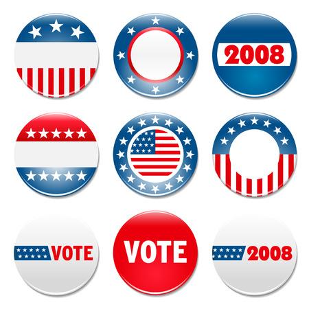 urne: 9 set di campagna elettorale badge  Vettoriali