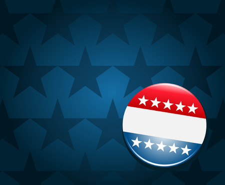 voter: Election campaign button on blue background Illustration